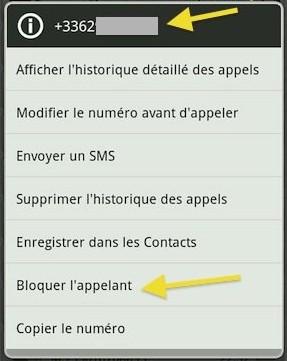 Bloquer numero appelant Android