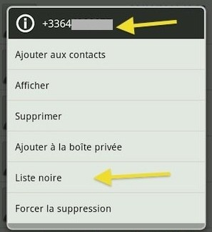 bloquer numero SMS android