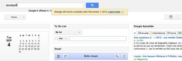 iGoogle s'arrête en 2013