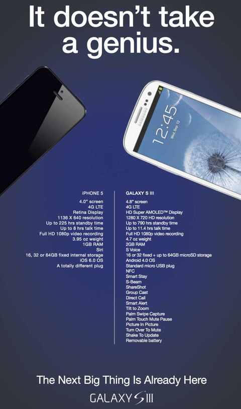 galaxy S3, Galaxy S3 : Samsung lance une pub comparative anti-iPhone 5