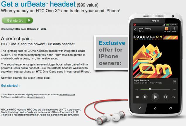 htc, HTC offre des écouteurs urBeats pour l'échange de votre iPhone contre un HTC One X