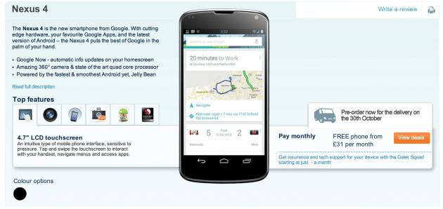 LG Nexus 4 précommande