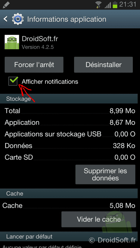 bloquer notification android