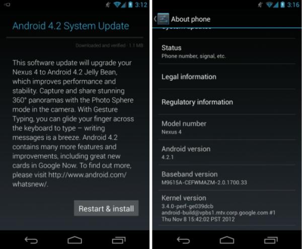Android 4.2.1, Android 4.2.1 : déploiement sur les Nexus 4, 7 et 10
