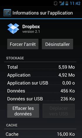 desinstaller application dropbox android tutoriel