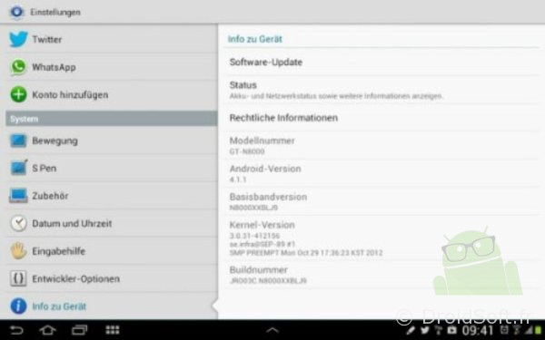 galaxy note 10 tablette android jelly bean