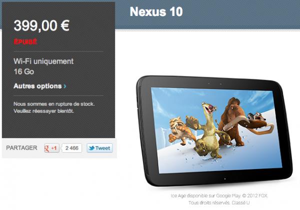 Nexus 10 16go, Nexus 10 16go aussi en rupture