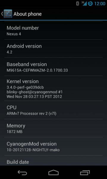 Nexus 4 Cyanogenmod 10.1
