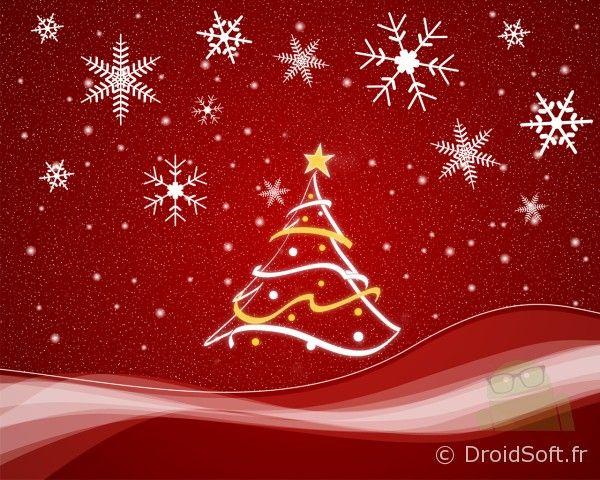 Sapin, Le fond d'écran du jour spécial Noël : petit sapin et flocons de neige