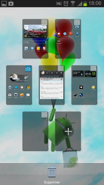 organiser les pages du bureau Android