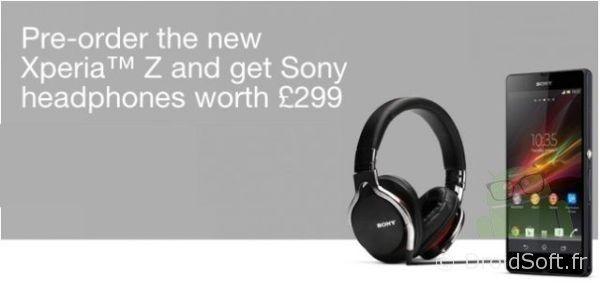 Sony Xperia Z casque 299e gratuit