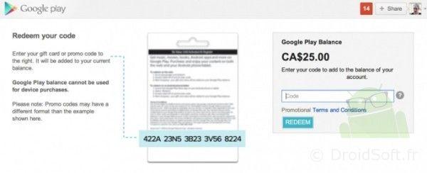 carte cadeau google play store canada