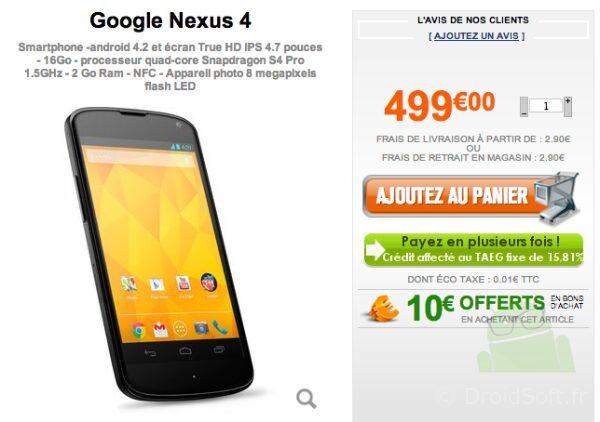 nexus 4 499euro Grosbill.com