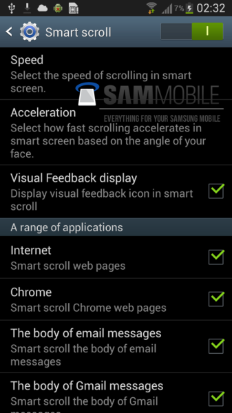smart pause et smart scroll galaxy S IV