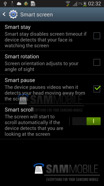smart pause et smart scroll galaxy S4