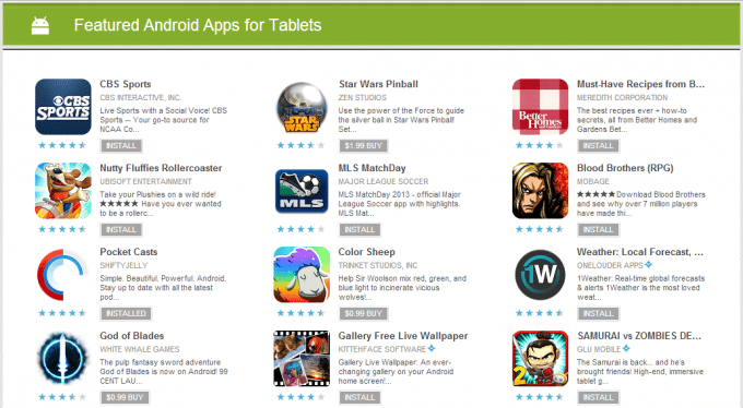 tablet-apps sur le Play Store