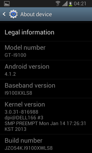galaxy S2 NFC mise à jour Jelly Bean 4.1.2