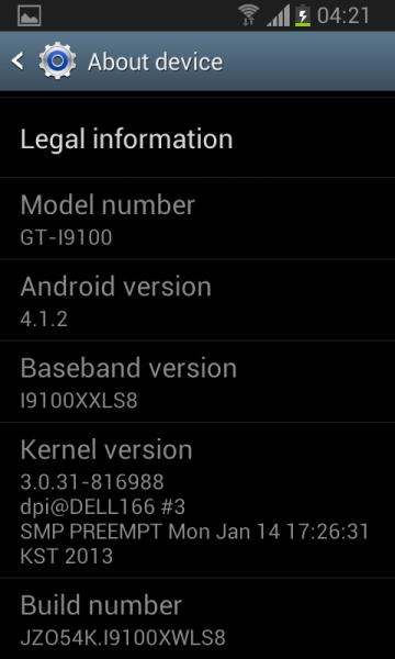 galaxy S2 NFC mise à jour Jelly Bean 4.1.2