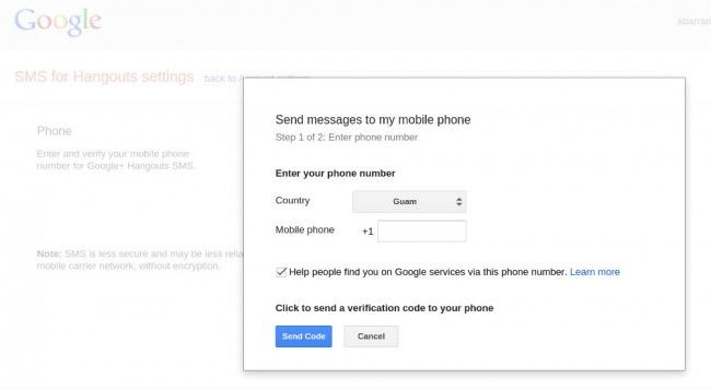 pays sms google hangouts