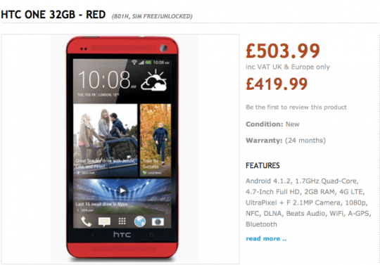 version rouge htc one