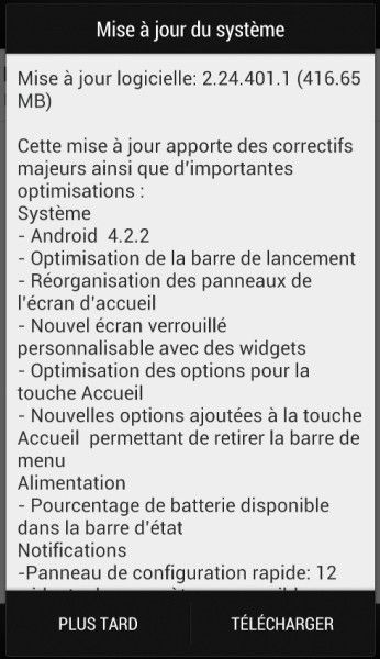 Android 4.2.2 HTC One mise à jour France