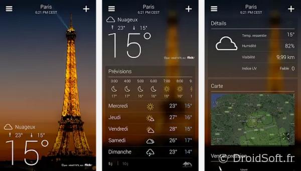 yahoo meteo android app gratuite