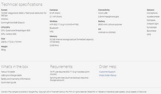 Nexus 10 2013 caracteristiques
