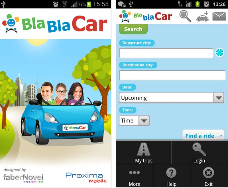 blablacar app gratuite android pour voyager petits prix. Black Bedroom Furniture Sets. Home Design Ideas