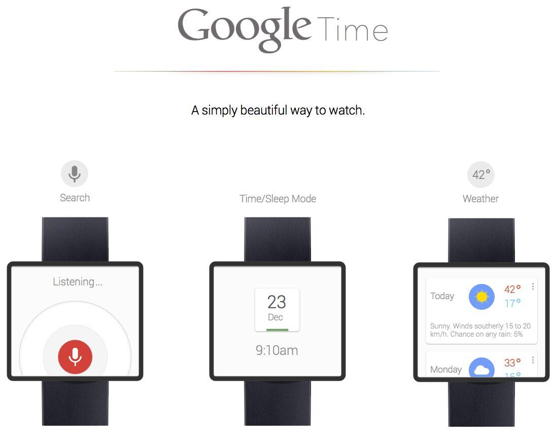 google time concept smart watch google now