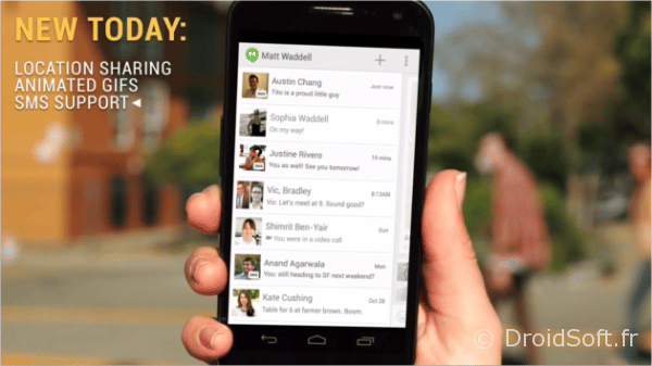 hangouts android sms mise a jour