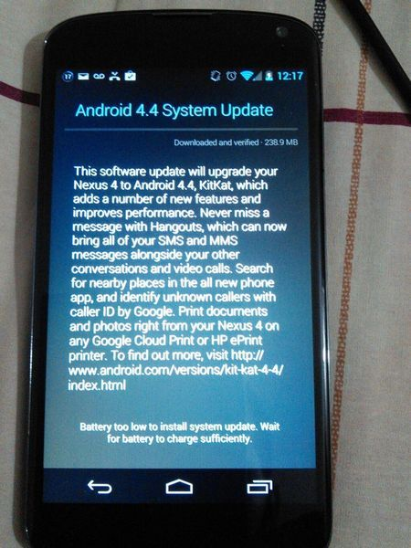 nexus 4 android 4.4 update