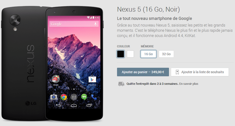 nexus 5 blanc disponibilite