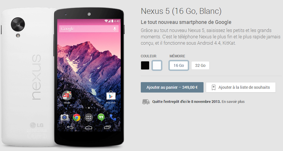 nexus 5 noir disponibilite
