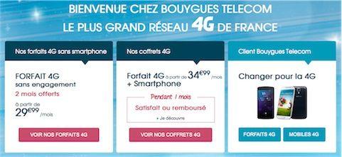 bouygues forfait 4G prix 3G