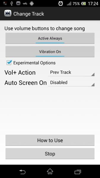 change track - chanson suivante bouton volume android