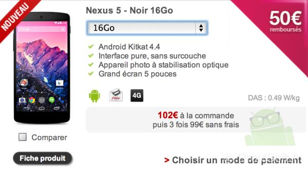 nexus 5 free mobile pas cher