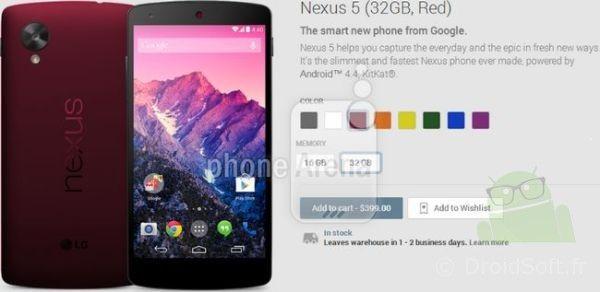 nexus 5 rouge coloris