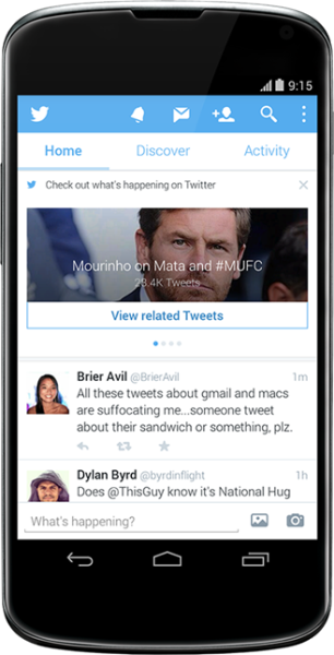 twitter android maj recommandation