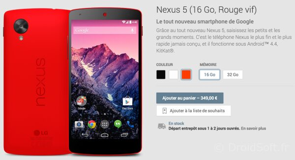 nexus 5 rouge google 349 euros