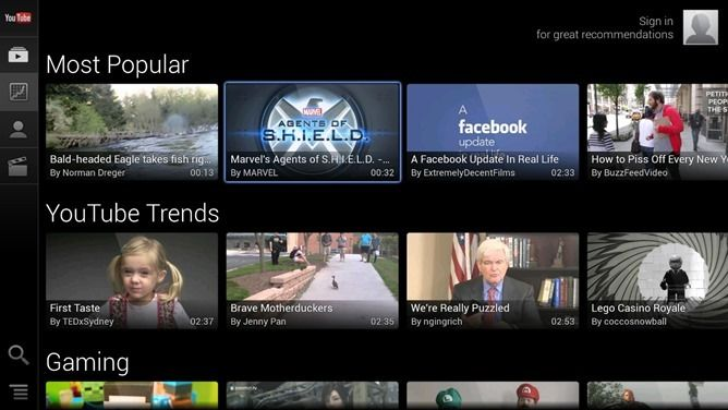 youtube google tv