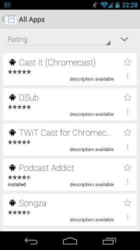 Chromecast app listing apk