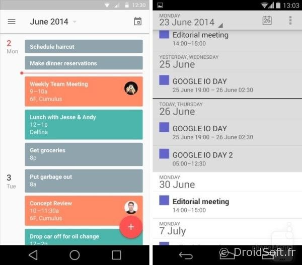 android 5.0 L calendrier