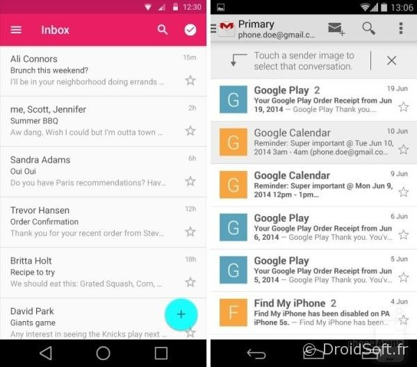 android 5.0 L gmail
