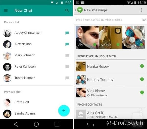 android 5.0 L hangouts