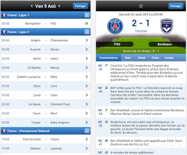 match en direct android