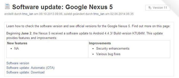 , Android 4.4.3 enfin sur Nexus 5 ?