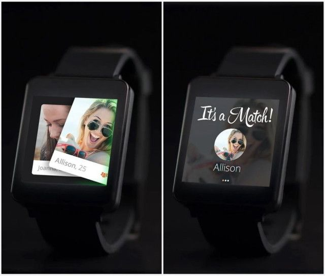 tinder compatible avec les smartwatch android wear. Black Bedroom Furniture Sets. Home Design Ideas