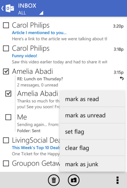 outlook android hors ligne