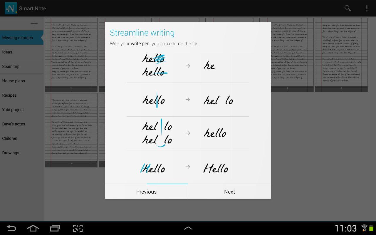 MyScript Smart Note exemple