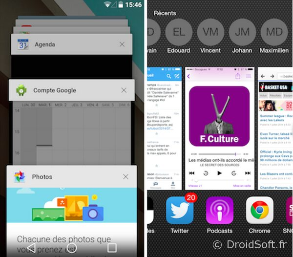 interface multitache android ios